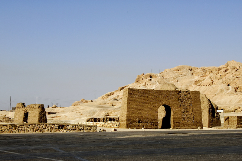 These are the ruins of Necropholis El-Khokha just south of the front of Deir El-Bahri. Deir El Bahri is also sorrounded by the necropolis (a large and elaborate cemetery of an ancient city)of Sheikh Abd El-Qurna and necropolis of El-Khokha.