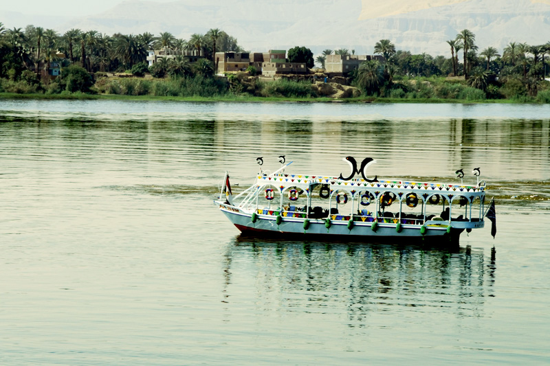 A typical motorboat with an Egyptian decor used to ferry people or be rented by tourist for sightseeing.