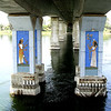 The bridge column decor is painted on a prepainted column.