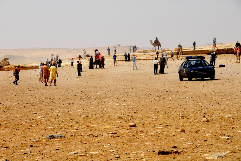 When the wind started to blow with the sand in the air, a lot of security officers just popped out of the desert!