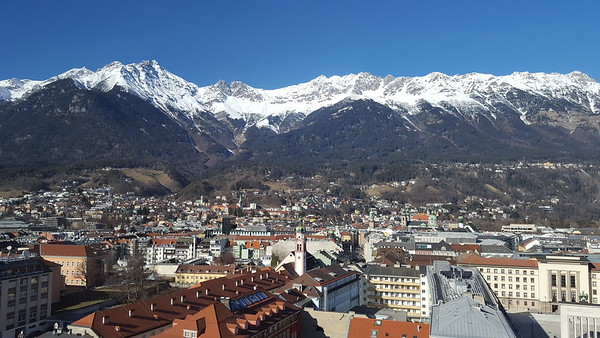 view from 13th floor hallway at the Hilton - probably the best photo I have from Innsbruck