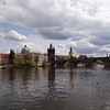 Prague: Charles Bridge. The famous statues were added many years later.
