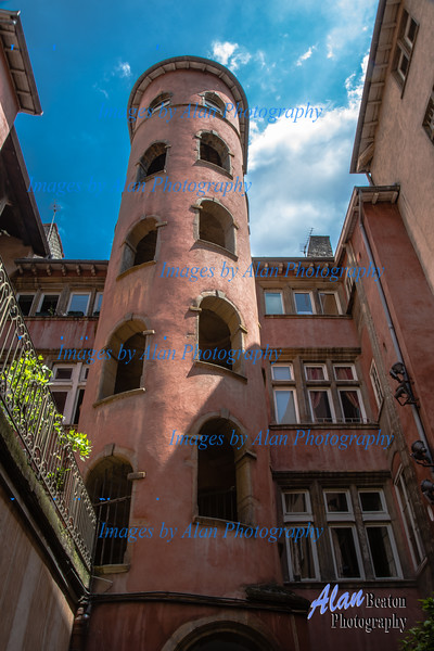 """""""Pink Tower"""" in the Traboules, Silk Weaving District, Lyon"""
