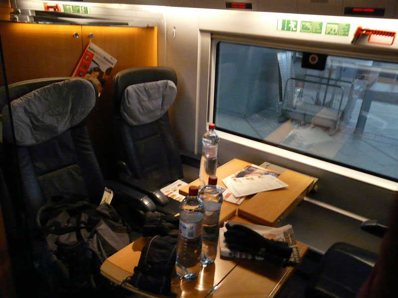 first class seats on the ICE train from Leipzig to Munich