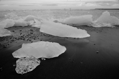 Black Sand Beach with Iceberg Remains