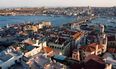 Istanbul from Galata Tower with Galata Bridge