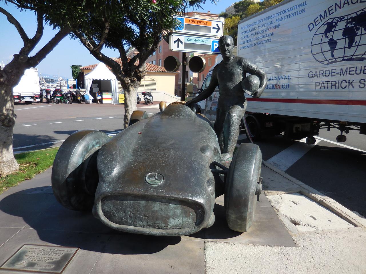 Statue honoring Juan Manel Fango, the Grand Prix winner in 1955.