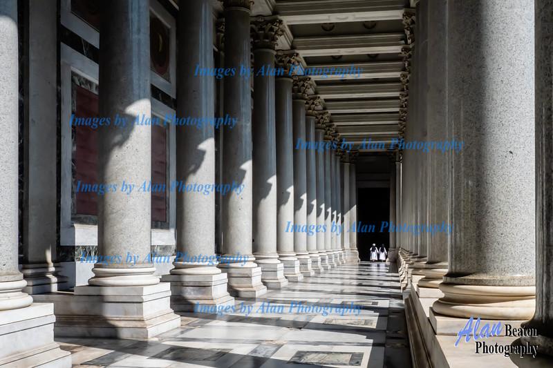 St Paul Basilica interior and departing nuns
