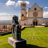 Basilca San Francesco, and commorative statue to Saint Frances, Assisi