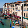 View of the Grand Canal at Rialto Bridge in San Polo