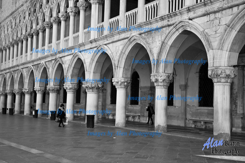 The facade of the Doge's Palace  adjoining St. Marks Square, Venice