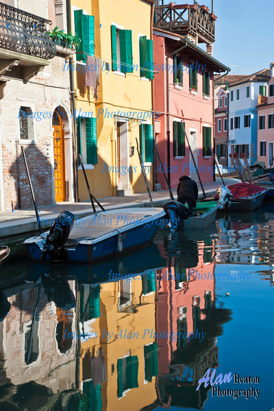 Burano reflections in the canal