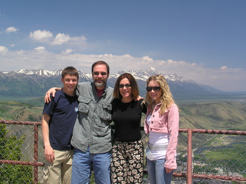 Casey and Brett with mom and dad at the top of Snow King Mountain. The Tetons can be seen in the background, and the town of Jackson below in the foreground. We used this shot as our Christmas card photo for Christmas 2006.