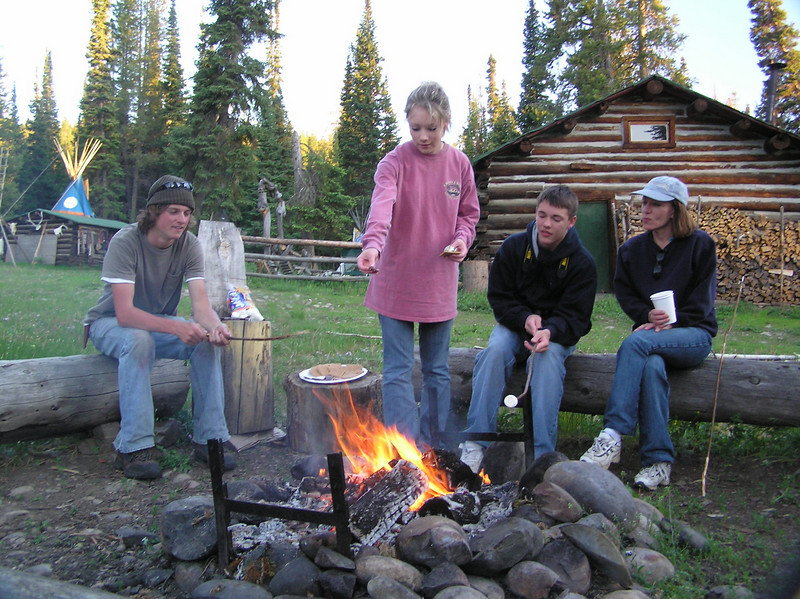 We enjoyed making smores by the campfire. The young man on the left was a student from Ohio who happened also to be involved in theatre. His summer job was to assist at the campsite.