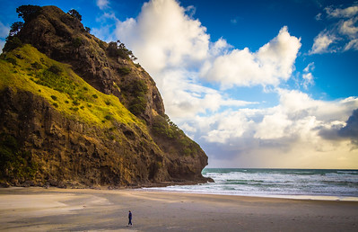 Lions Head, at Piha Beach on the western coast of the North Island. And yes, the beach was just that empty.