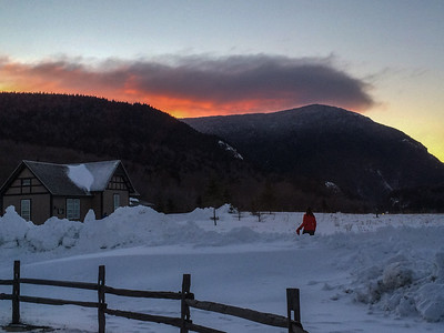 Photo by Bob Peck.  Sunrise over Elephant Head Mountain.