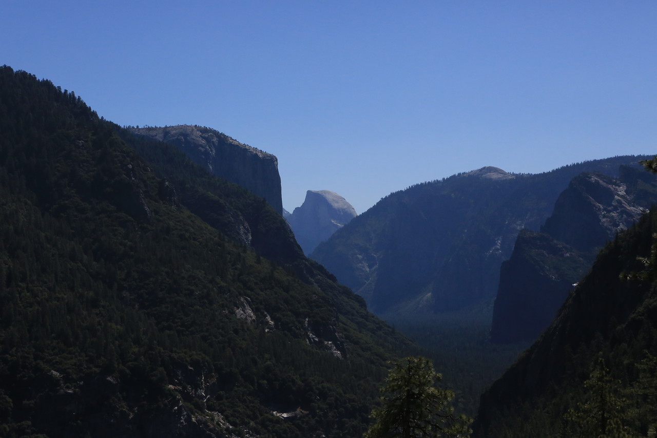 A view into the valley from the turnout on the entrance road.  Tunnel view parking lot is behind the hill at the bottom right corner.