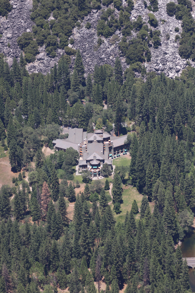 The Awanee Hotel from high above at Glacier Point.
