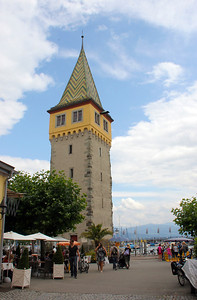 The city hall tower of the German town of Landau on the Bodensee.