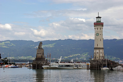 The harbor entrance of Landau.  In the distance on the other side of the lake are the hills above the Austrian town of Bregenz where we will stay the night.