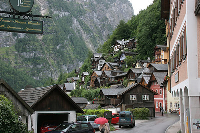 The main, waterfront street of Hallstatt.  Our hotel was along this street.