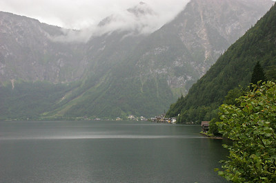 Our first view of Hallstatt which sits on a lake of the same name (Hallstattersee) in the Austrian Alps.  As you can see, it was a rainy day, and that proved to be the case during almost our entire stay in Hallstatt.  This view makes me think a lot of Ketchikan, Alaska where we lived in 1974-76 ... steep mountains, rain, and a town right on the edge of the water.
