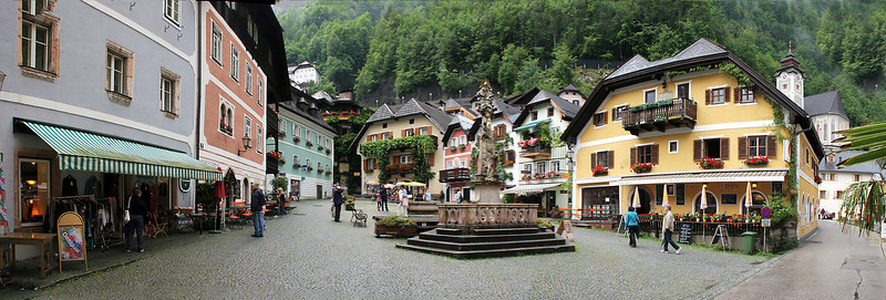 While the rain was still pretty light, we took our own walking tour of Hallstatt.  This is a 6-image panorama of the main town square in Hallstatt.