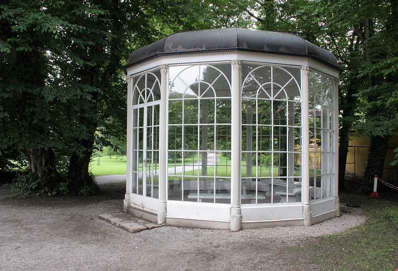 """This is the gazebo featured in the """"Sixteen Going on Seventeen"""" scene in SOM.  It was moved from its original place to the grounds of Hellbrun Castle where access could be controlled better; that was because tourists kept reenacting the scene of dancing around on top of the benches and falling to injure themselves!"""