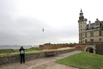 Flying into Copenhagen, we drive straight to Helsingor at the northern tip of Sjaelland (Zealand)Island.  From Kronberg Castle, Teddie looks at Sweden across the Oresund straight.