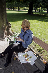 Lunch in Rosenborg Gardens.  The open faced sandwiches are called Smørrebrød.