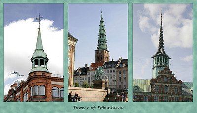There were many and varied green topped towers in København.