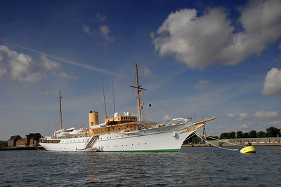 The Danish royal yacht anchored in København.
