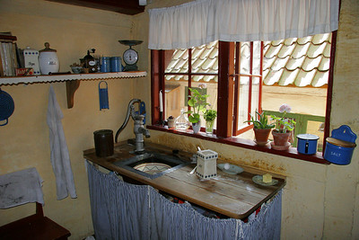 A kitchen in a house in Den Gamle By.