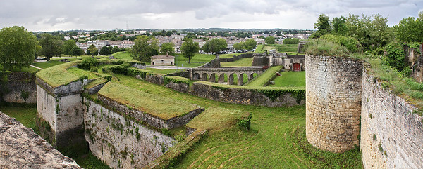 Multi-image panorama of view from Citadel walls.
