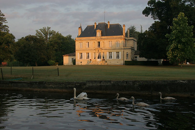Sunrise on Chateau Foulon.  The open window, 2nd floor center, is our bedroom.
