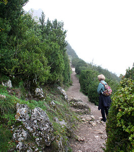 Continuing on up the trail to the Château.  The limestone was surprisingly slippery on this damp day.