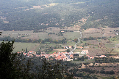 Looking down from the trail over the valley on the far side of the ridge.  This village is Rouffiac des Corbieres.