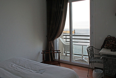 In our hotel room in Collioure.