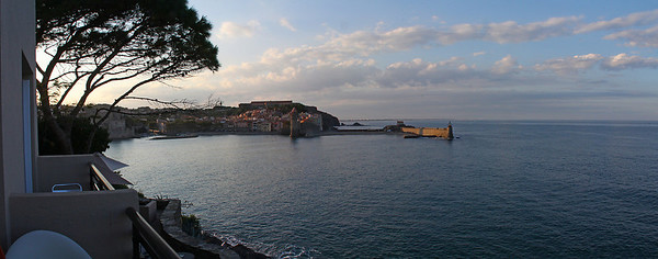 Evening was already approaching when we arrived.  This is the view to the north, toward downtown Collioure, from our room balcony.