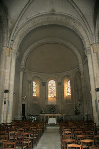 Interior, Montcaret's Romanesque church.