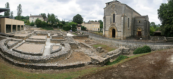 Enroute Dordogne, we discovered an old Romanesque church in the town of Montcaret, sitting on top of the ruins of an ancient Roman villa.  (8 vertical images stitched side-by-side)