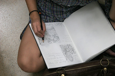 A student studies Van Gogh.