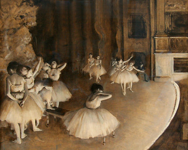 """Ballet Rehearsal on Stage"", Degas, 1874"