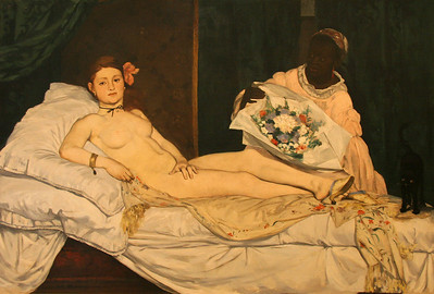 "In contrast to ""Birth of Venus"", ""Olympia"" by Edouard Manet caused quite a stir in 1863.  A prostitute staring at the viewer was unsettling in its time."