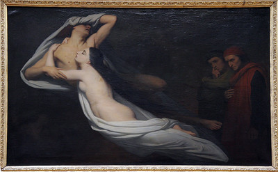 "Ary Scheffer, 1855, ""The Ghosts of Francesca da Ramini and Paolo de Malatesta Appear to Dante and Virgil"""