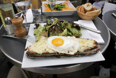First thing to do:  lunch, a Croque Monsieur at our local cafe, Le Bosquet.