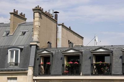 Classic Parisian roofs, across the street.