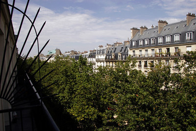"The view from our hotel room on Avenue Bosquet.  ""Bosquet"" translates as ""grove""."