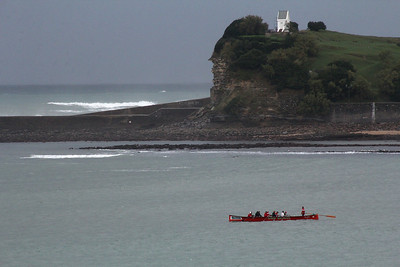The eastern point headlands of the bay of Saint Jean de Luz, as seen via telephoto from our room.