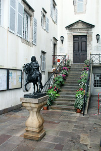 Louis XIV lived in this house for 40 days in 1660.  That's his equestrian statue out front, and as we shall see later, he was married in this town.